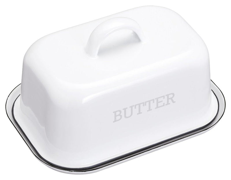 Kitchencraft Living Nostalgia Vintage-style Enamel Butter Dish With Lid – White
