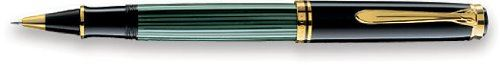 Pelikan Souveran R600 Roller Ball Pen - Black Medium Point- Black & Green