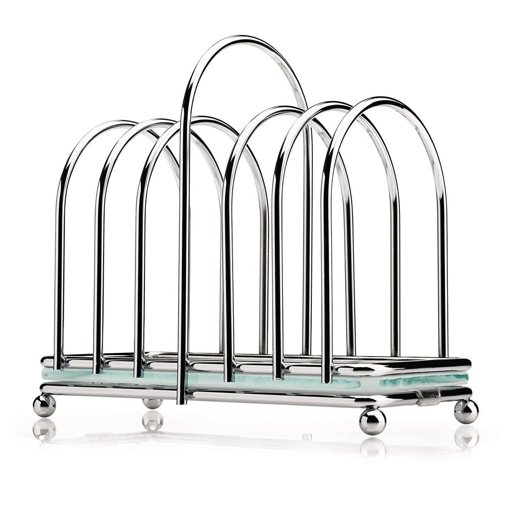 Kilo Toast Rack with Frosted Glass Base - Chrome