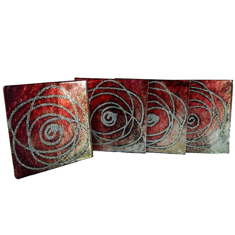 Aspire Art Glass Coasters Sparkle Red, silver and Black 4 pack