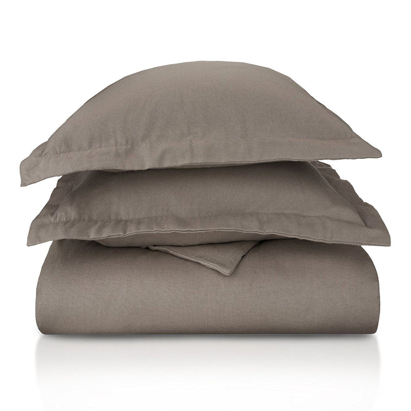 Impressions Solid Flannel Duvet Cover Set, Cotton, Grey, King/California King