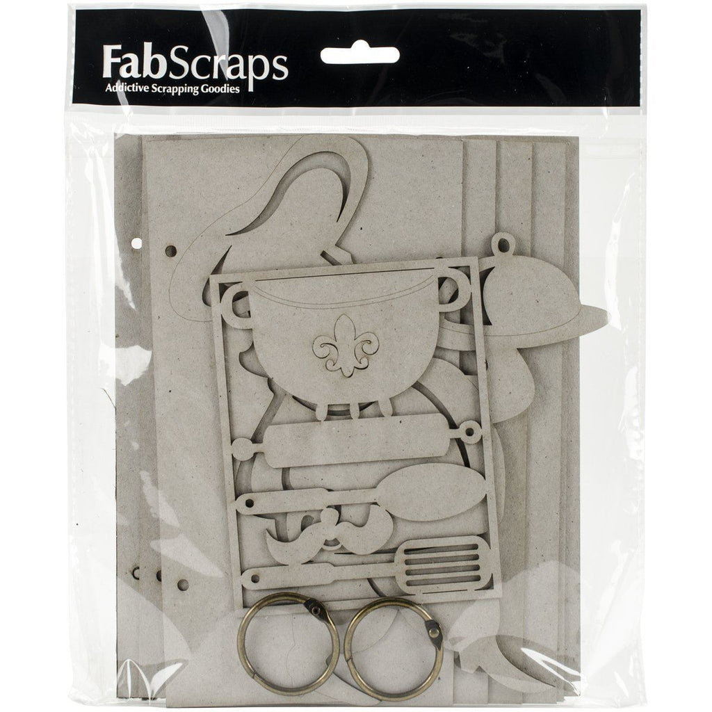 FabScraps Die-Cut Gray Chipboard Recipe Book 8-inch x 8-inch