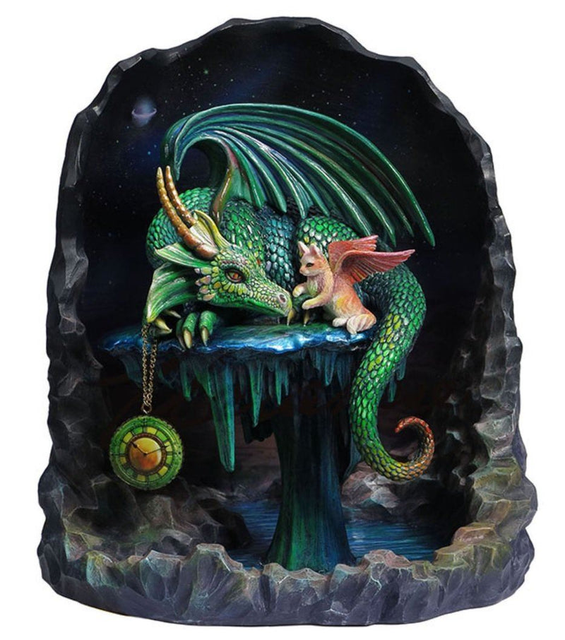 8.5' Time Dragon Emerald By Rose Khan Statue Fantasy Sculpture Gothic Dragon Cat
