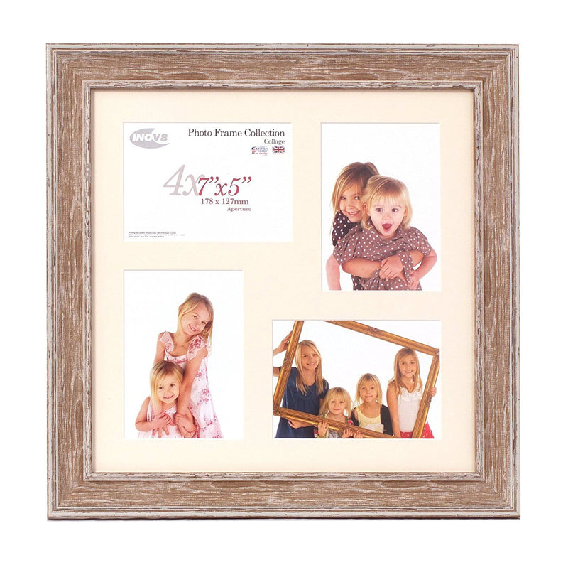 Inov8 British Made Picture/Photo Frame, 16x16-inch Square Collage, Large Washed Walnut