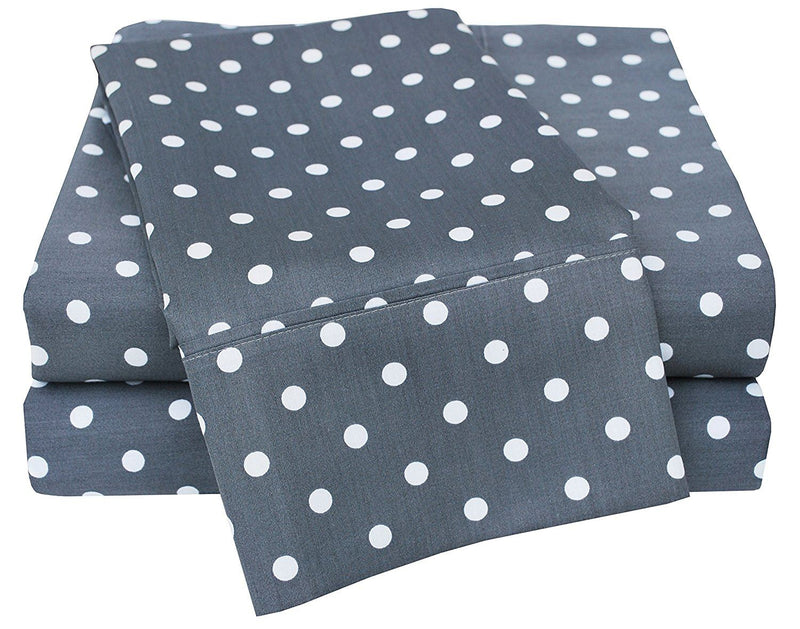 Impressions 600 Thread Count Deep Pocket Soft Wrinkle Resistant Bed Sheet Set in Polka Dot Pattern, Cotton Blend, Grey, Twin, 3-Piece
