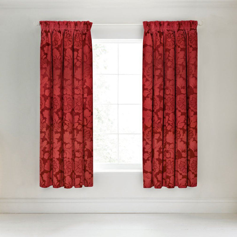 Broomhill Elora Lined Curtains, Red, 66X72