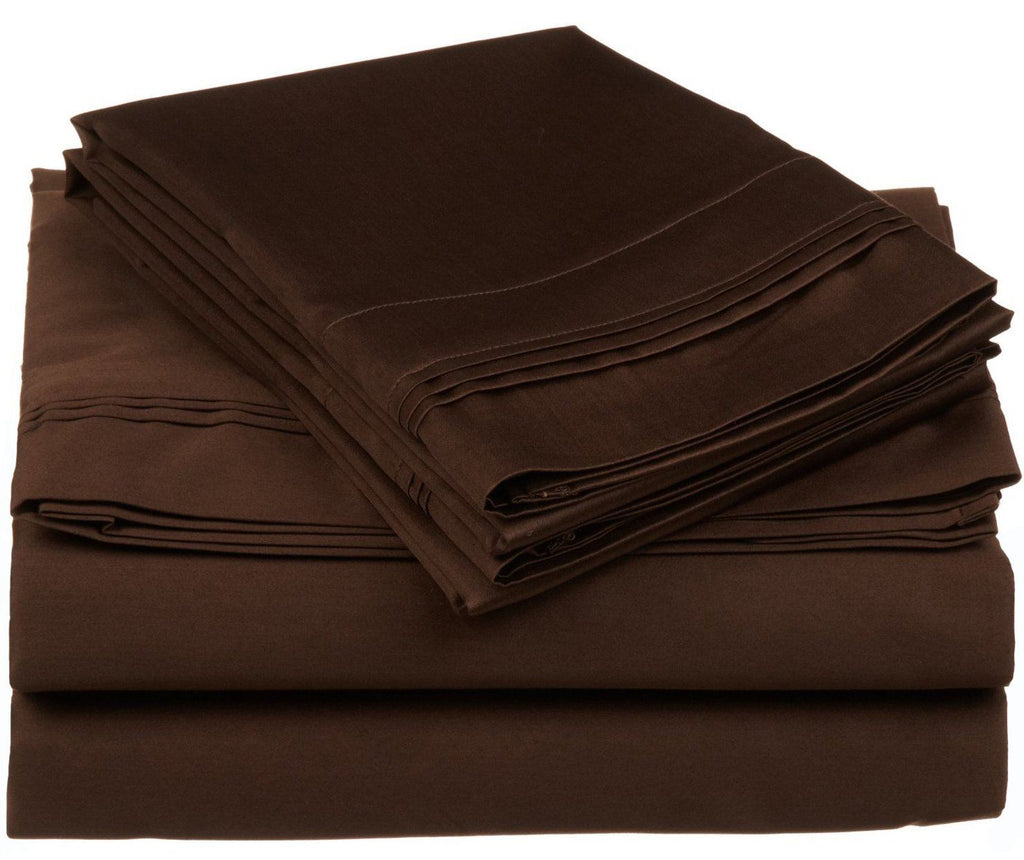 100% Premium Long-Staple Combed Cotton 650 Thread Count, Twin XL 3-Piece Sheet Set, Deep Pocket, Single Ply, Solid, Chocolate