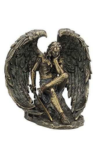 "6.5"" Cold Cast Bronze Color Lucifer The Fallen Angel Figurine Statue"