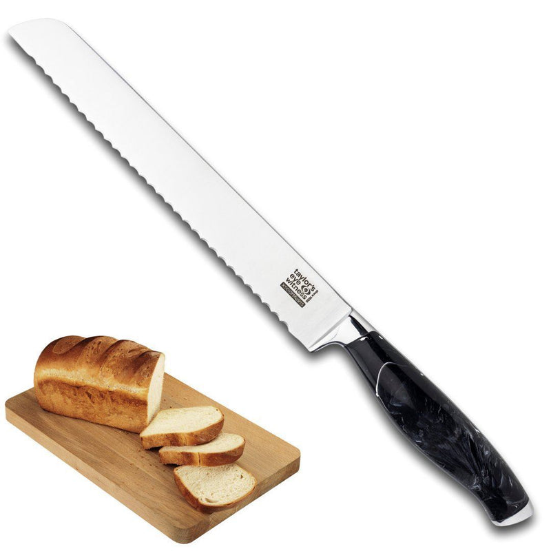 Professional Serrated Bread Knife 8 Inch/20 cm - Black Marble Style. High Hardness Martensitic Stainless Steel. Finely Ground Razor Sharp Blade. Rust-Resistant. Chefs/Cooks Knife. 25 Yr Guarantee.
