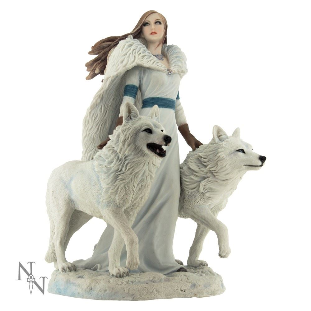 Anne Stokes - Winter Guardians Wolf Statue
