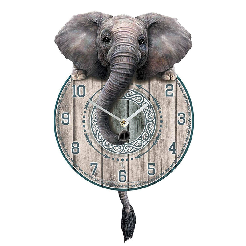 Trunkin' Tickin' Elephant Wall Clock With Pendulum Tail