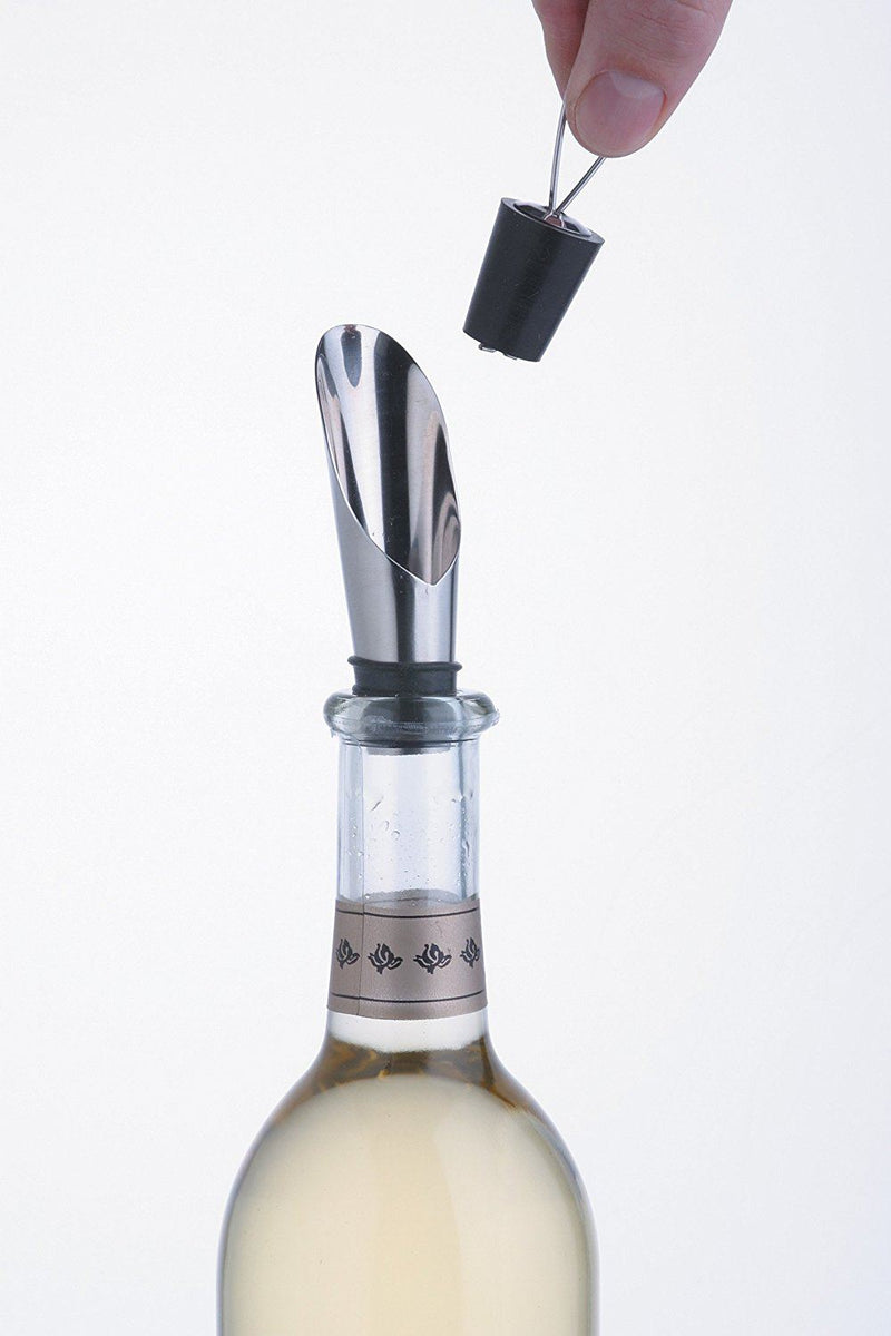 Bar Craft Wine Pourer and Stopper in Stainless Steel