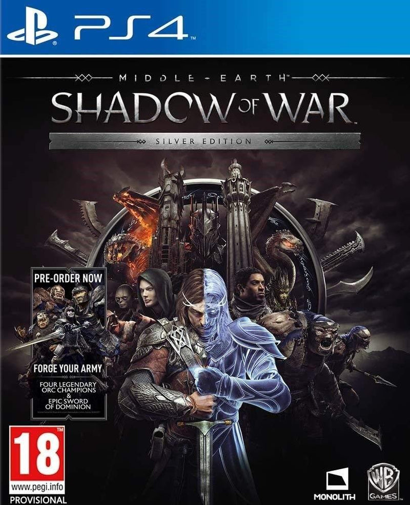 Roll over image to zoom in Middle Earth Shadow of War Silver Edition PS4 Game