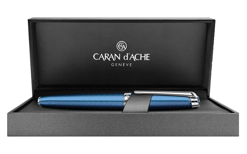 Caran d'Ache Leman Grand Bleu Silver Plated Rhodium Coated Rollerball Pen