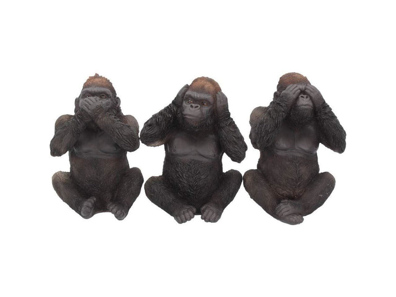 Weird Or Wonderful 3 Wise Three Gorillas by Nemesis Now - Set of Three See No Evil Hear No Evil Speak No Evil Monkey Primate Planet Of The Apes Ornament Figurine Statue Gift