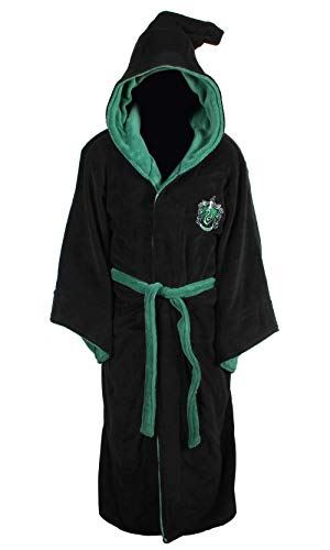 Groovy Slytherin Harry Potter Hooded Bathrobe, Polyester, Black, One Size