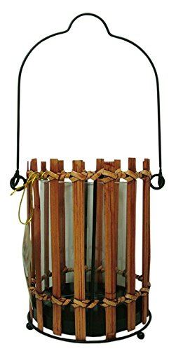 Colony Hurricane Wicker Glass Lantern Candle Holder 13cm