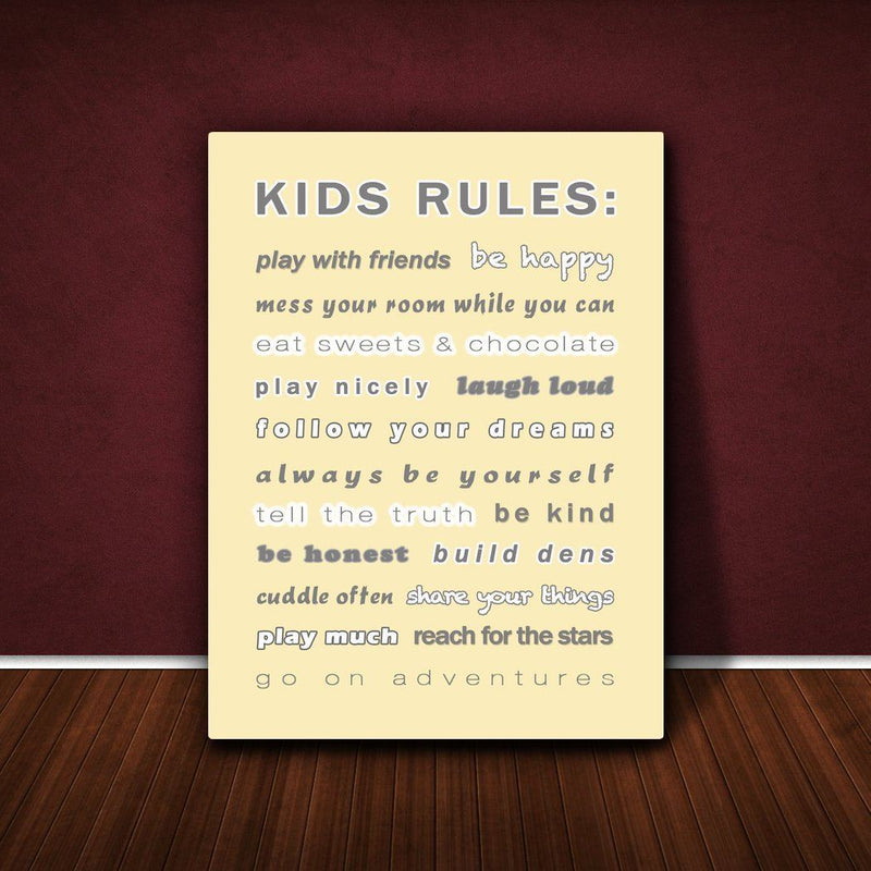 Feel Good Art 16 x 12 x 1.5-Inch A4 Thick Solid Front Panel Kids Rules Box Canvas, Cream