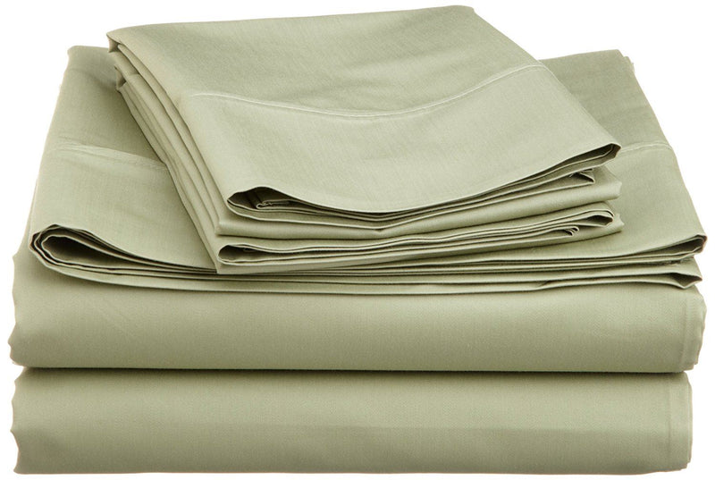 Impressions 600 Thread Count/Deep Pocket/Soft/Wrinkle Resistant Olympic Bed Sheet Set, Cotton Blend, Solid Sage, Queen Size, 4-Piece