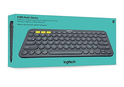 Logitech K380 Bluetooth Keyboard for Windows, Mac, Chrome and Android Blue Italian Keyboard (QWERTY Layout), dark grey