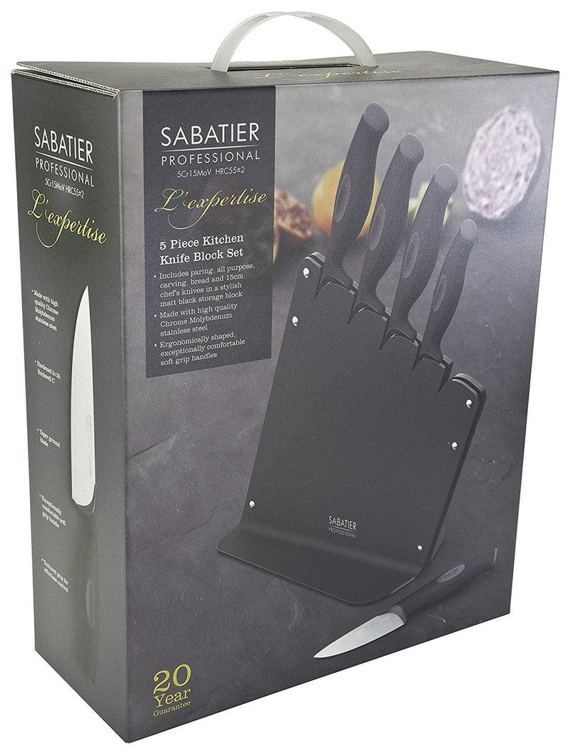 Sabatier Kitchen Knife Set Block - 5 piece. High Quality Chrome Molybdenum Stainless Steel. Finely Ground Razor Sharp Blades. Chefs/Cooks Knives. 20 Year Guarantee. Professional L'Expertise Range.