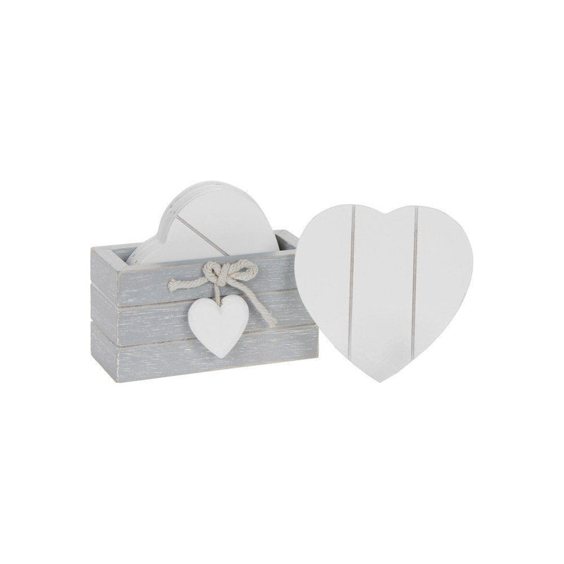 Shudehill Provence Set of 6 Wooden Heart Drink Coasters - Grey