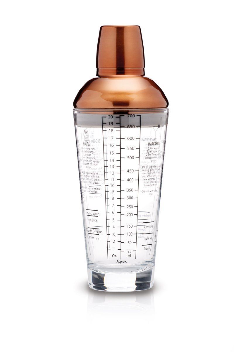 Bar Craft Luxe Lounge Glass Boston Cocktail Shaker, 650 ml - Copper Finish