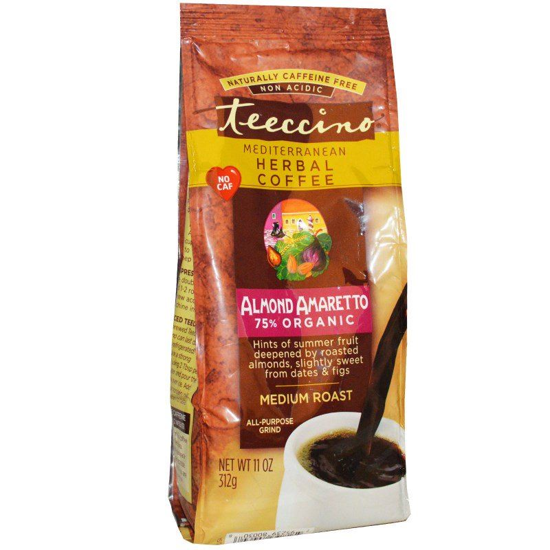 Teeccino Mediterranean Herbal Coffee Medium Roast Almond Amaretto Caffeine Free 312 g