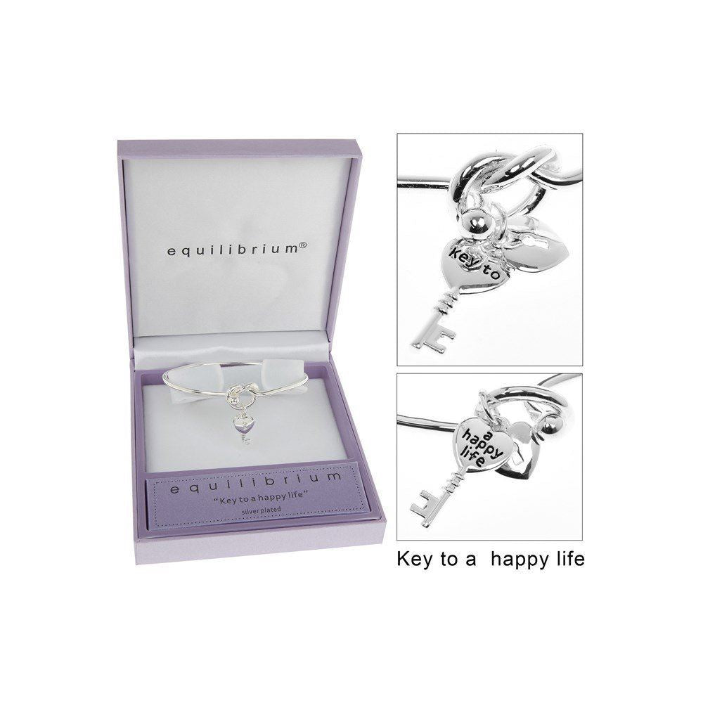 Equilibrium Silver Plated Knot and Key Bangle With Key to a Happy Life