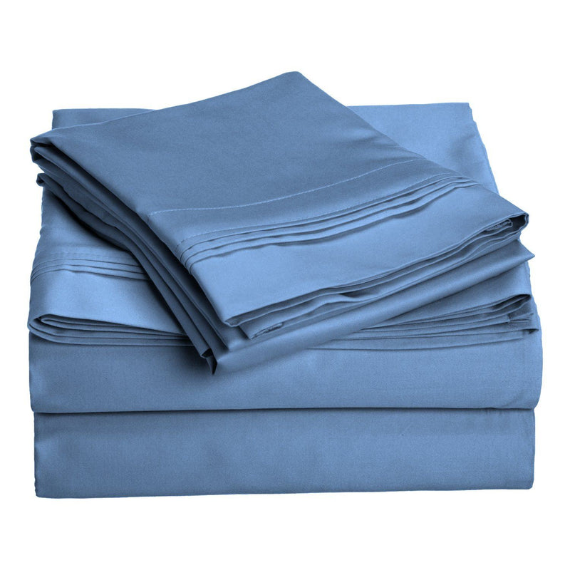 Impressions 1000 Thread Count Single Ply Solid Bed Sheet Set, Premium Egyptian Cotton, Medium Blue, Olympic Queen