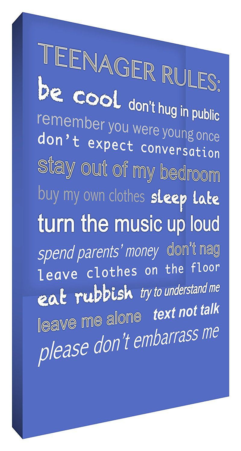 Feel Good Art 36 x 24-inch A1 Modern Typographic Teenager Rules Thick Box Canvas, Blue
