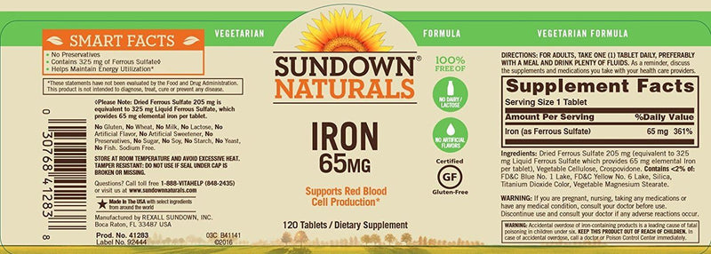 Rexall Sundown Naturals Iron 65 mg 120 Tablets