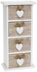 Shabby Chic Provence Heart Four Drawer Mini Chest