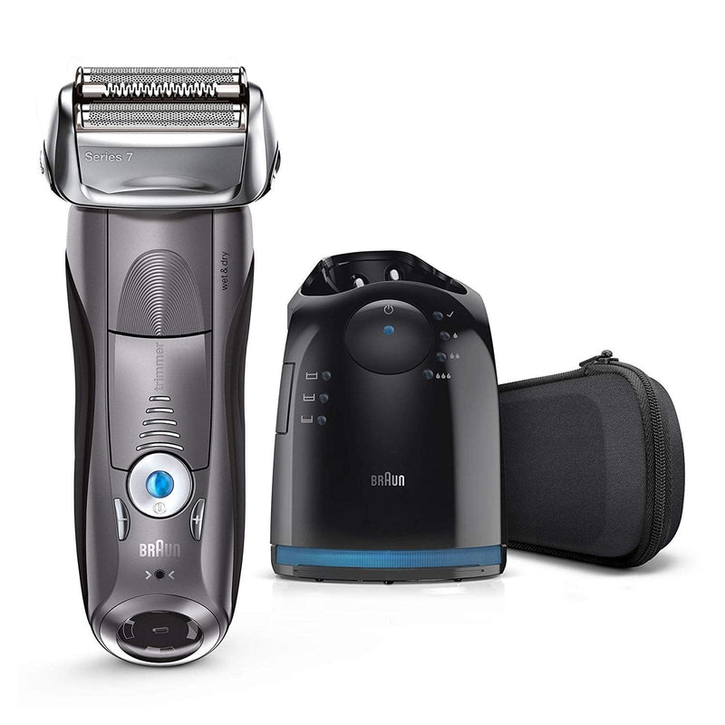 Braun Series 7 Electric Shaver for Men 7865cc, Wet and Dry, Integrated Precision Trimmer, Rechargeable and Cordless Razor with CleanandCharge Station and Travel Case, Grey