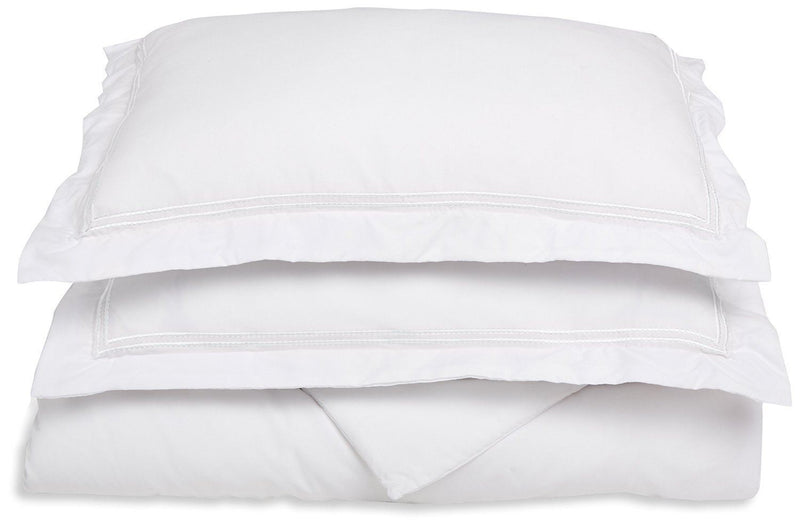 Superior 3000 Series Super Soft and Wrinkle Resistant Microfibre 3-Piece Duvet Cover Set with 2-Line Embroidered Oxford Pillowcases in Gift Box, Double/King, White with White Embroidery