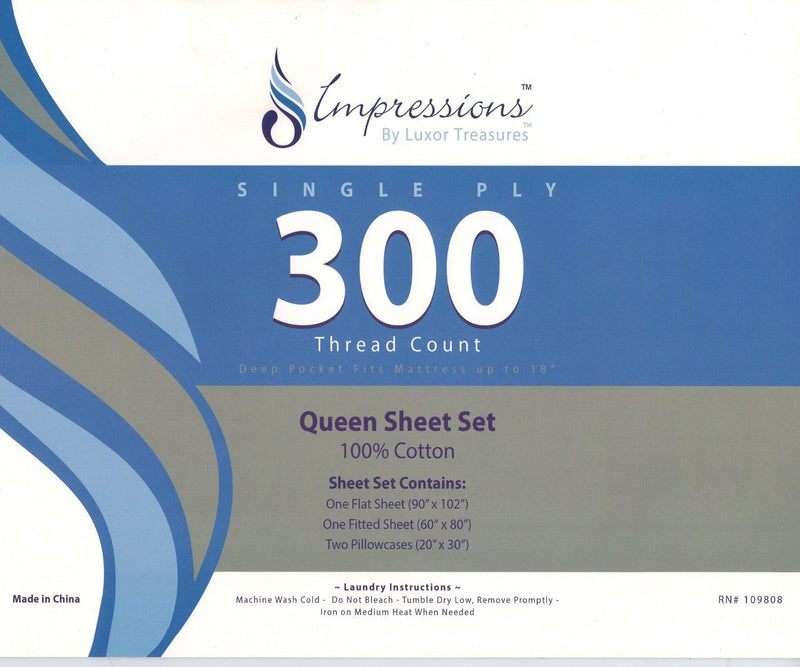 Impressions 300 Thread Count Crestwood Sheet Set, Multi-Colour, Queen