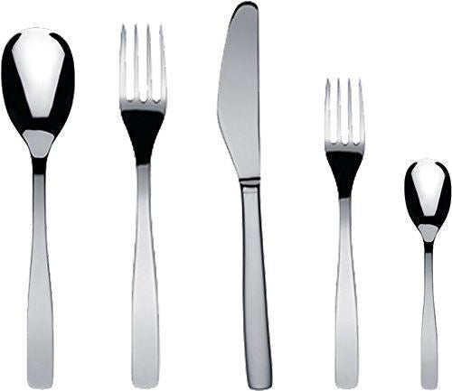 "Alessi ""KnifeForkSpoon"" Flatware Set Composed Of One Table Spoon, Table Fork, Table Knife, Dessert Fork, Tea Spoon in 18/10 Stainless Steel Mirror Polished, Silver"