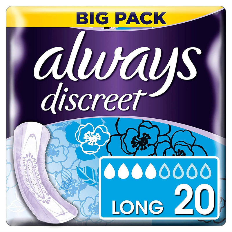 Always Discreet Long Pads for Incontinence and Bladder Control x20