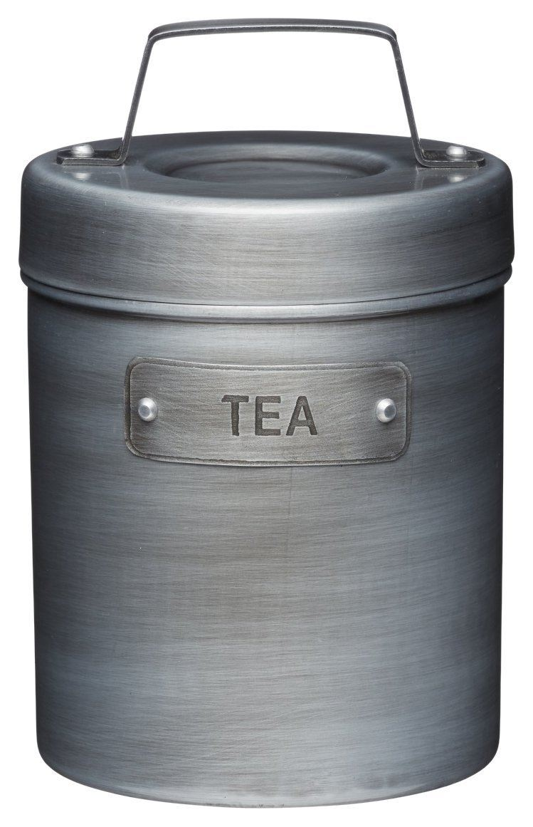 KitchenCraft Industrial Kitchen Vintage-Style Metal Tea Caddy, 1 L (1.75 pts)