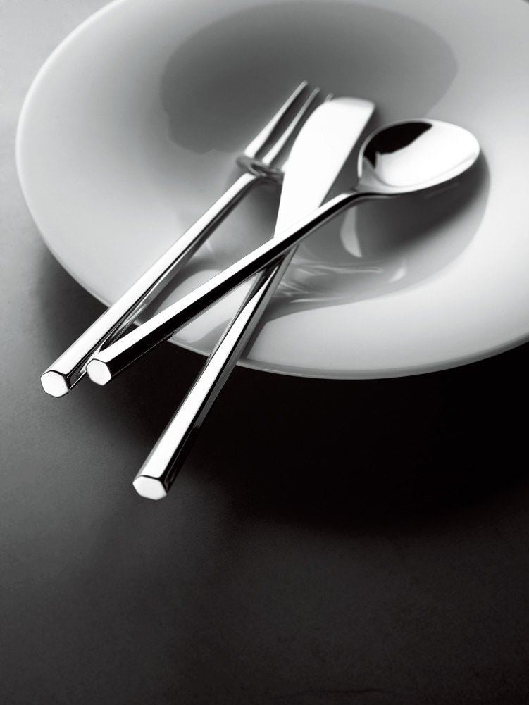 "Alessi ""MU"" Flatware Set Composed Of One Table Spoon, Table Fork, Table Knife, Dessert Fork, Tea Spoon in 18/10 Stainless Steel Mirror Polished, Silver"