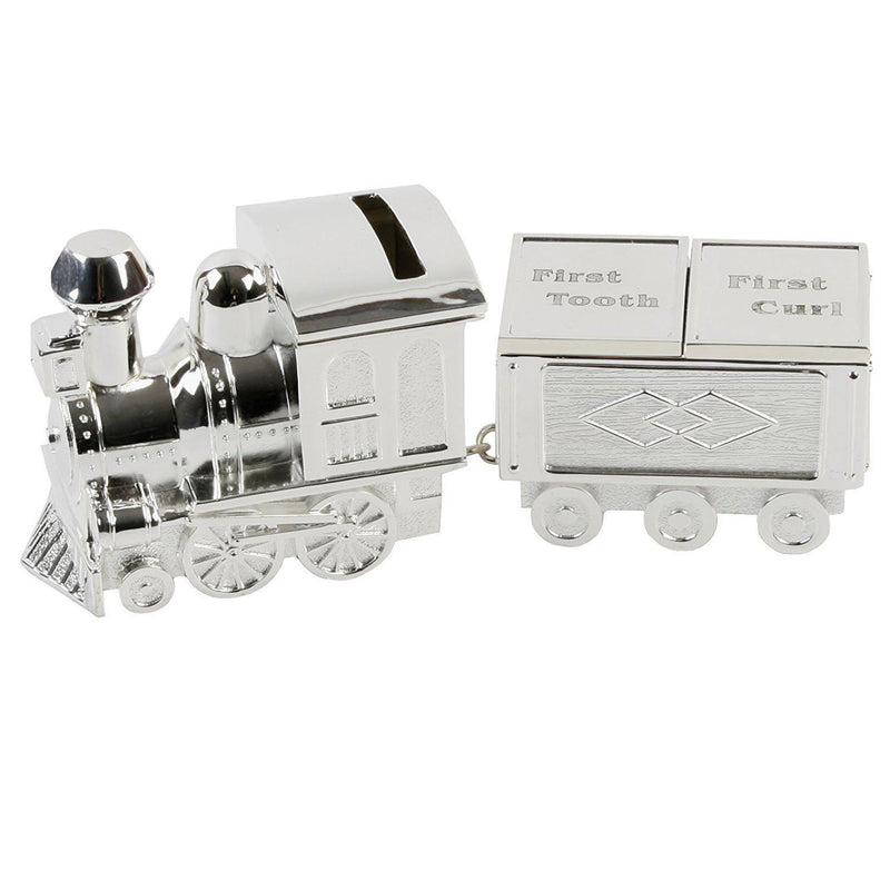 Shudehill Silver Plated Train Money Box with First Tooth & Curl Carriages