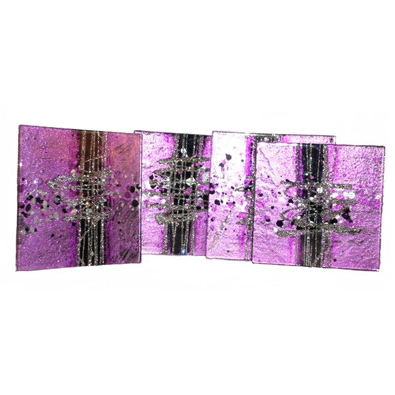 Aspire Art Glass Coasters Cosmos Purple, Black and Silver 4 pack