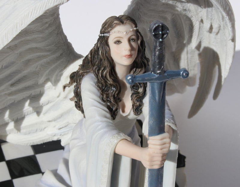 Nemesis Now Veronese Resin Statues The Blessing By Anne Stokes Kneeling Gothic Angel In White Holding Sword Statue 8 X 6.5 X 7 Inches White