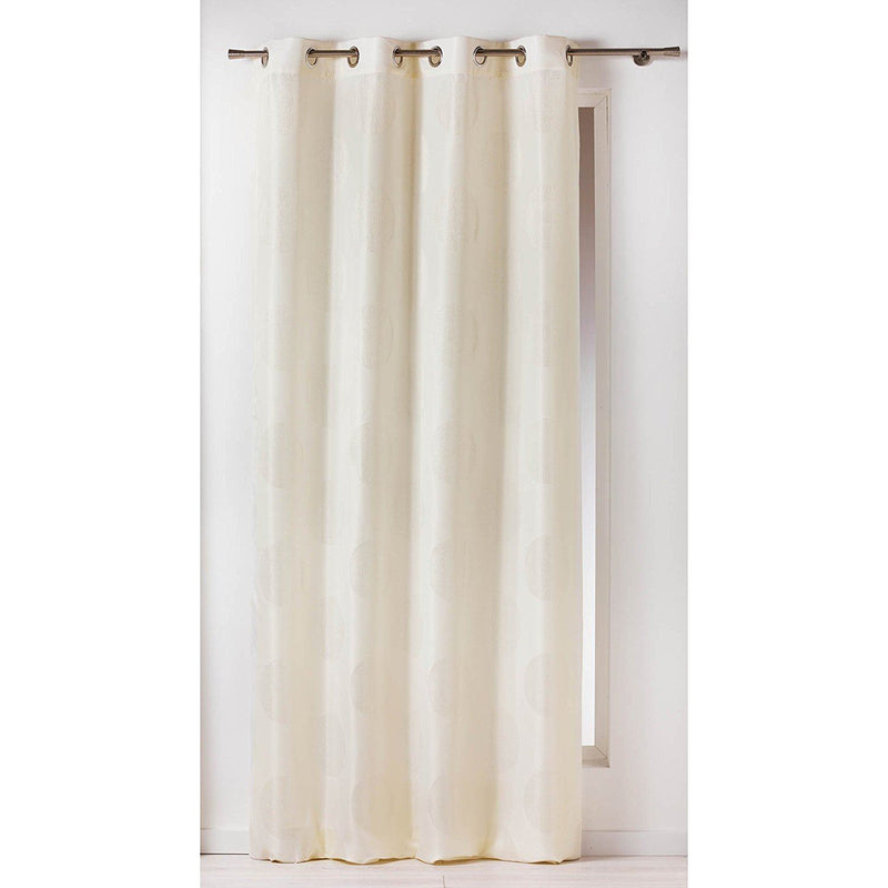Douceur d'Interieur 140 x 260 cm Jacquard Electra Curtain Rings, Naturel