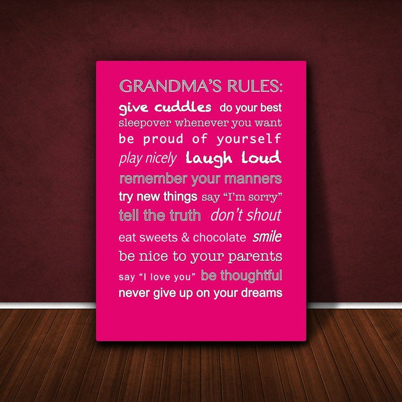 Feel Good Art 36 x 24-inch A1 Extra-Large Modern Typographic Grandma's Rules Thick Box Canvas, Hot Pink