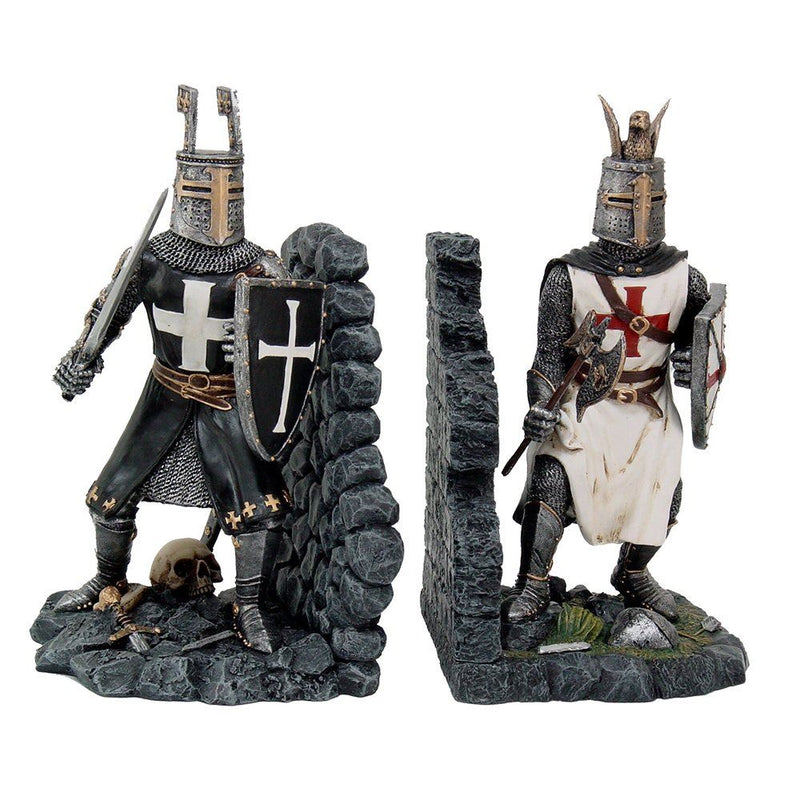 Nemesis Now Decorative Crusader Knights in Full Armor Bookends Set Collectible Figurine 7.5 Inch Tall