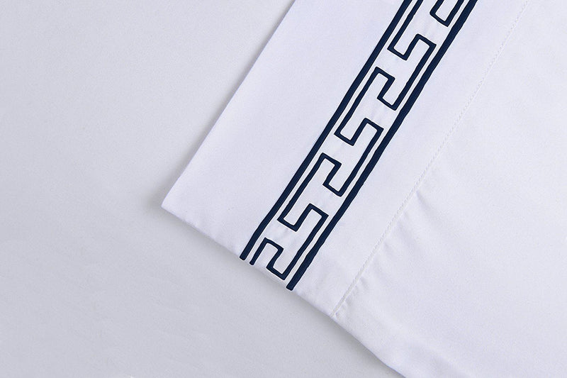 Superior 3000 Series Super Soft and Wrinkle Resistant Microfibre 4-Piece Bed Sheet Set with Regal Embroidery in Gift Box, Long Single/Ikea Single, White with Navy Embroidery