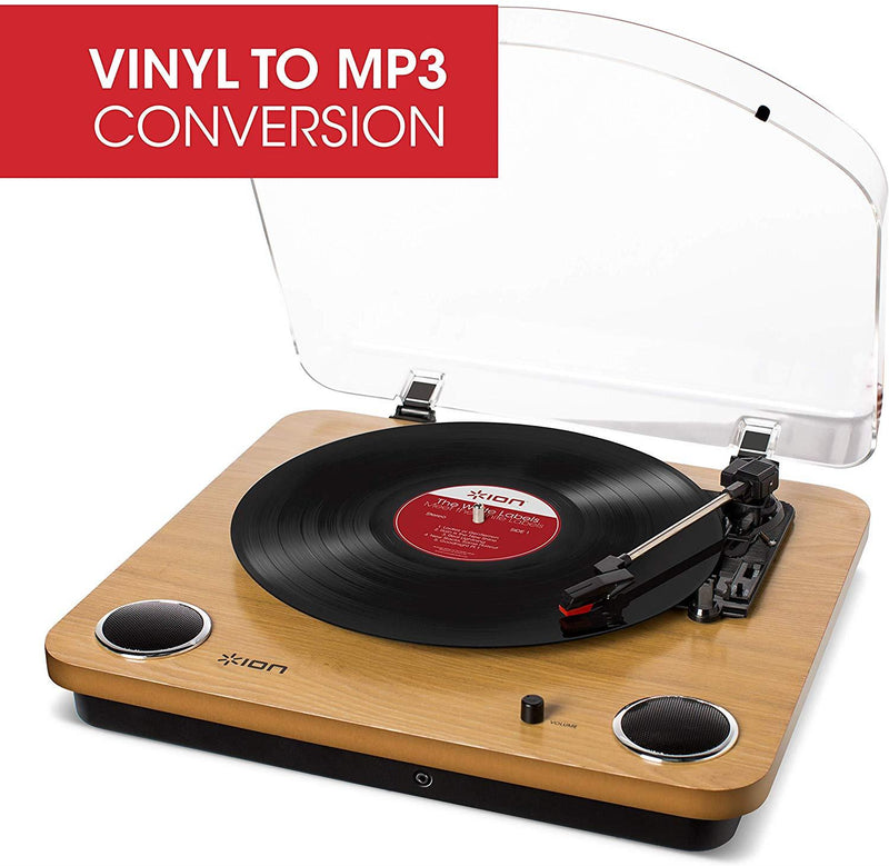 ION Audio Max LP - Vinyl Record Player / Turntable with Built In Speakers, USB Output for Conversion and Three Playback Speeds - Natural Wood Finish