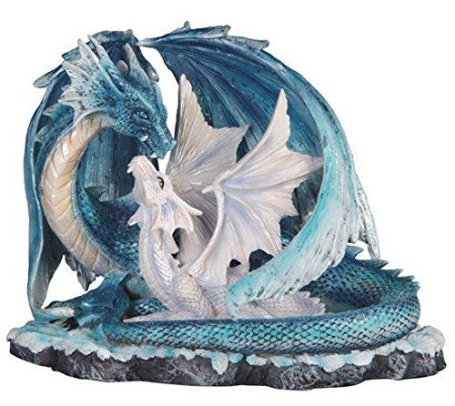 StealStreet SS-G-71533 Light Blue Dragon Mom with White Baby Statue Figurine, 7'