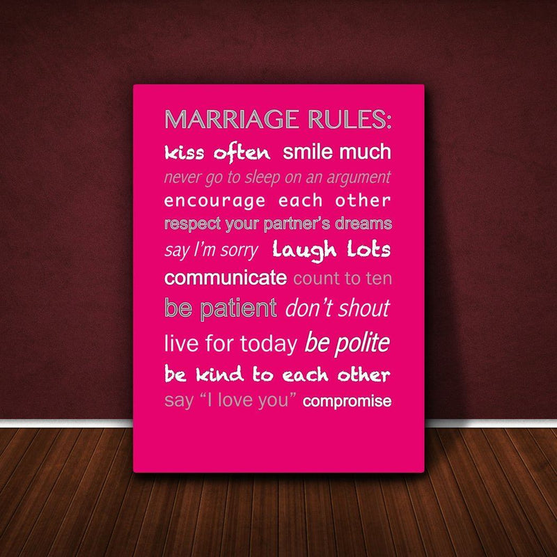 Feel Good Art 12 x 8-inch Thick Box Canvas Marriage Rules, Hot Pink